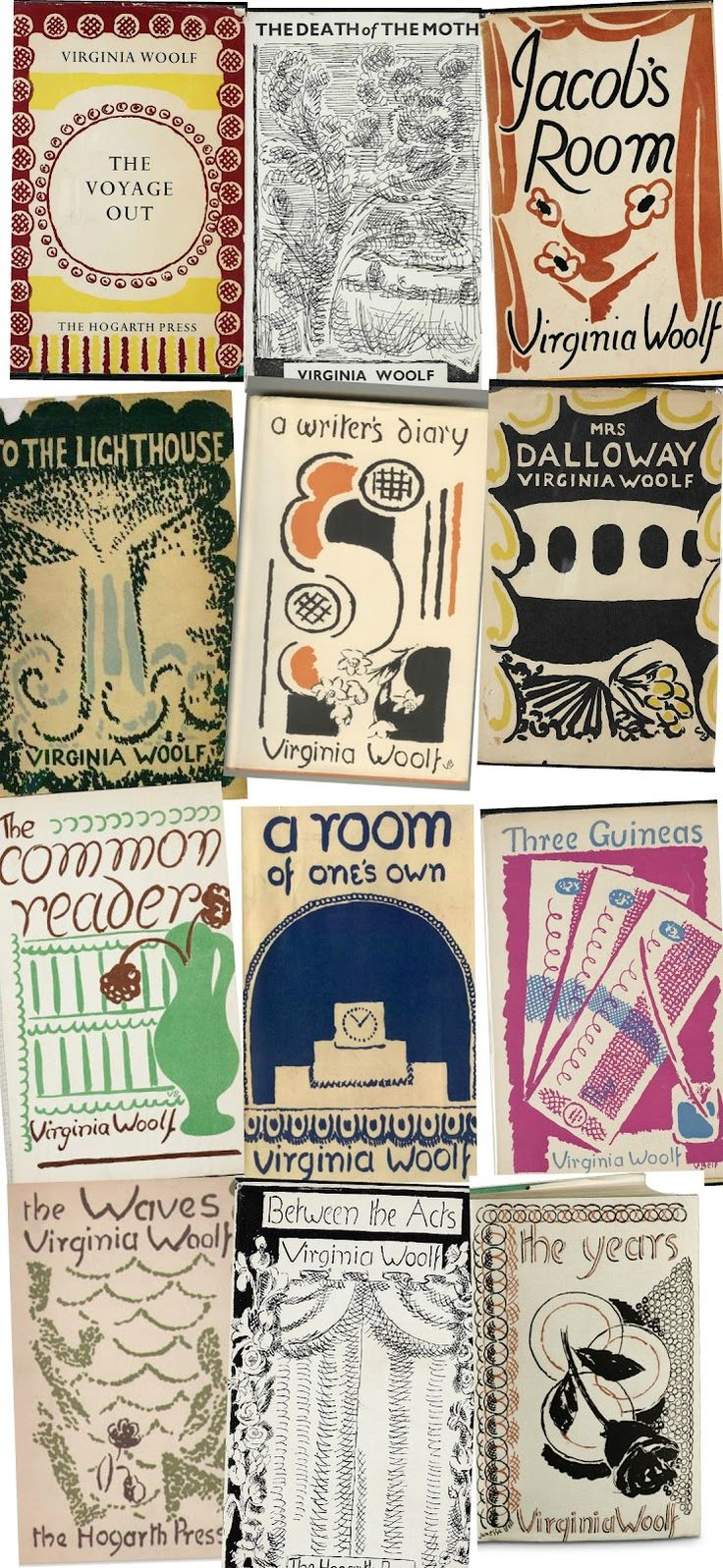 Sisters-Virginia Woolf and Vanessa Bell-author & artist of these book covers-