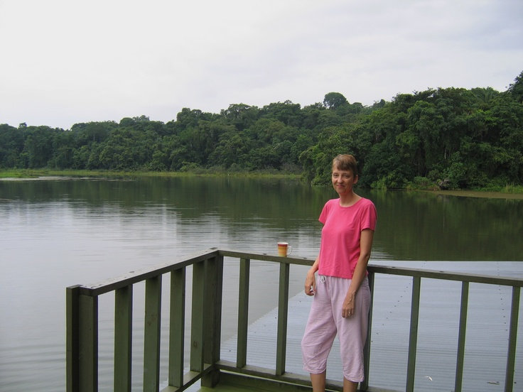 Karen's morning coffee, houseboat on Gatun Lake.