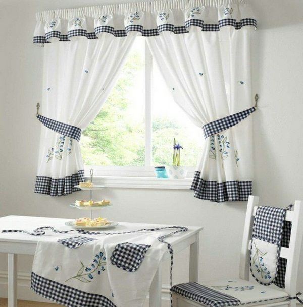 cozy kitchen cake small window curtains sympathetic white checkered tablecloth apron flowerpots