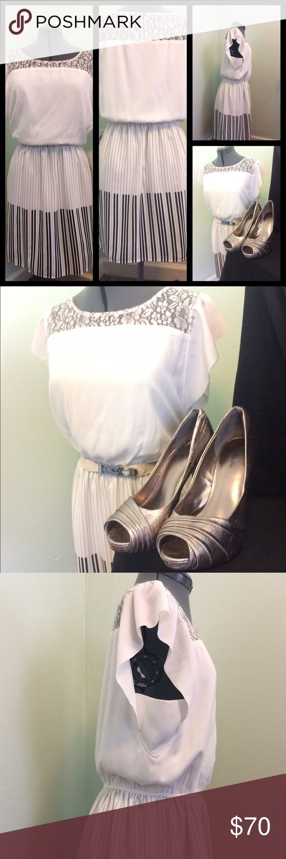 NWT Black and white lacey trim ANY occasion dress Very feminine, fully lined dress with elasticized waist flatters the body. Pretty detailing around the neckline, back and sleeves. Can be styled for any occasion. Shoes and belt also offered for sale. Madison Jules Dresses Mini