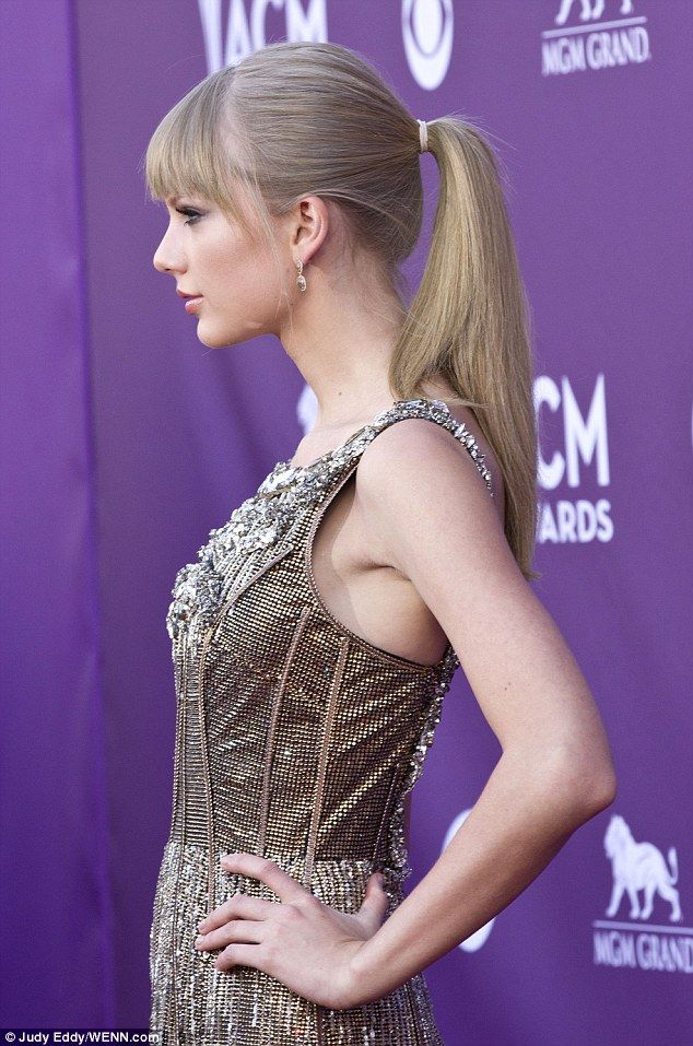 Heavy metal: Taylor Swift looked stunning in a grey metallic style dress    Read more: http://www.dailymail.co.uk/tvshowbiz/article-2305572/Taylor-Swift-steals-ACM-Awards-2013-red-carpet-shimmering-old-gold-gown.html#ixzz2PrdtPLBw   Follow us: @MailOnline on Twitter | DailyMail on Facebook
