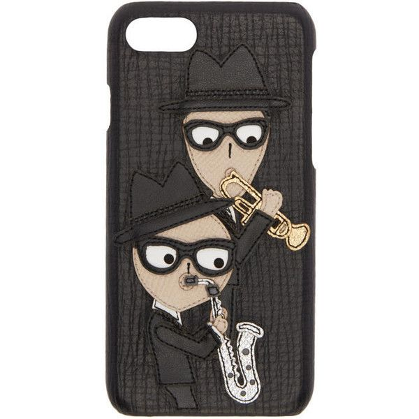 Dolce and Gabbana Black Sax Players iPhone 7 Case ($475) ❤ liked on Polyvore featuring men's fashion, men's accessories, men's tech accessories, black and mens leather accessories