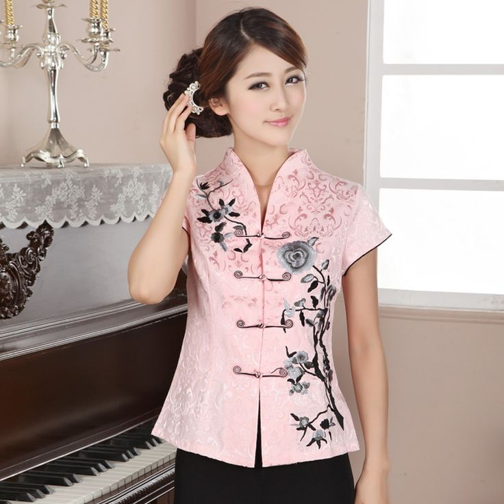 Attractive Open Neck Oriental Style Pink Shirt - Chinese Shirts & Blouses - Women