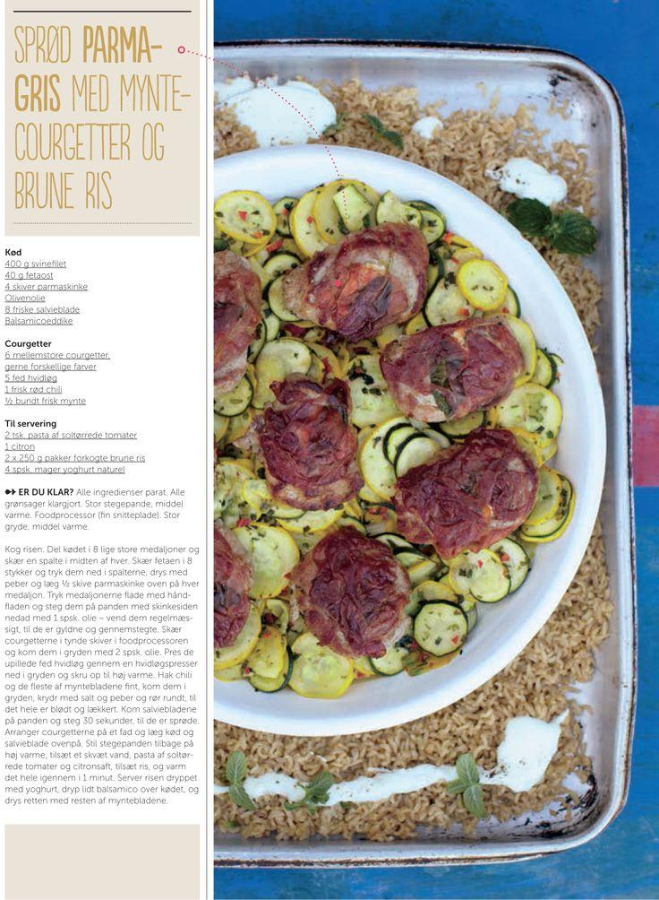 Sprød parmagris med myntecourgetter og brune ris - opskrift af Jamie Oliver for Silvan