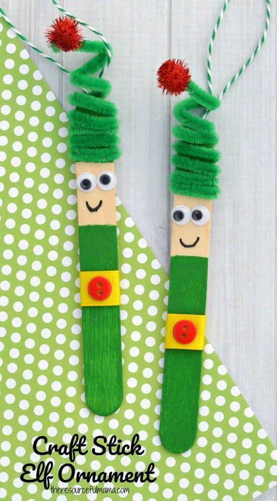 Kinder lieben diese lustige Handwerksstock-Elfenverzierung von einem Ha