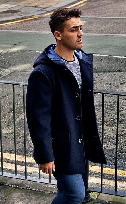 Yo Preston for ORIGINALS by JACK & JONES winter style, mensfashion, jeans, grey top, blue coat