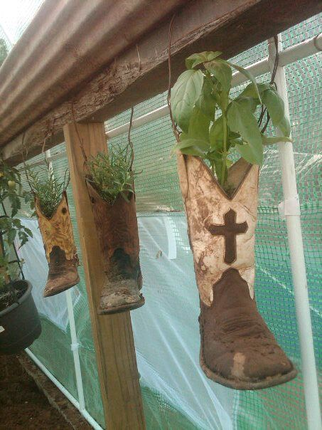 This is in my green house.  A great use for old worn out boots!  I LOVE to upcycle things if at all possible!  ♥
