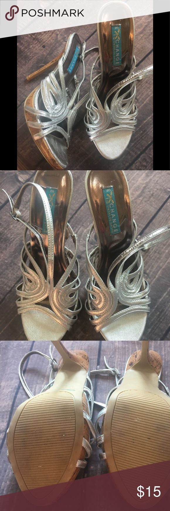 Exchange by Charles David Silver Strap Heels Sz 9 Perfect condition. Only worn once Charles David Shoes Heels