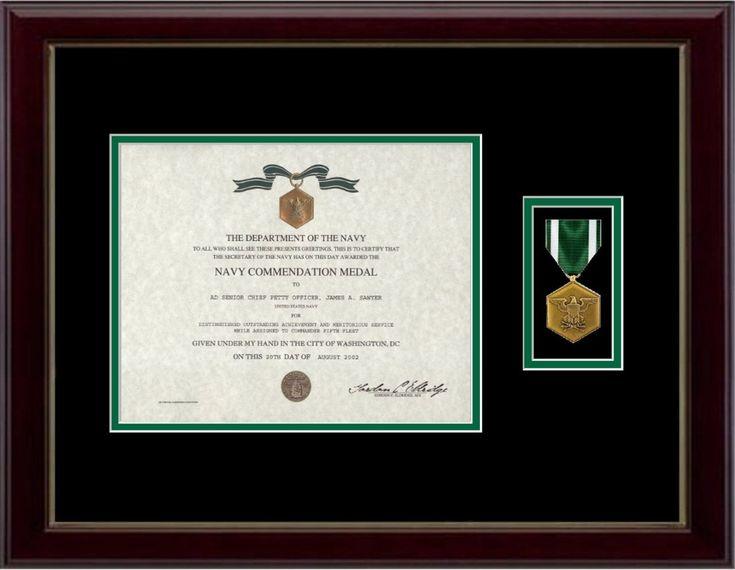 Navy/Marine Commendation Certificate  $110.00  (http://www.militarymemoriesandmore.com/navy-marine-commendation-certificate-frame/)