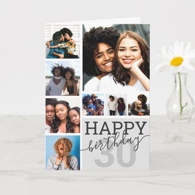 Gray Family Friends Photo Collage Happy Birthday Card Zazzle Com Happy Birthday Cards Photo Collage Family Photo Cards