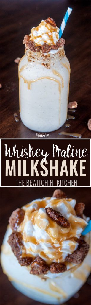 Whiskey Praline Milkshake - can't decide between cooling off in the summer or warming up for the winter, this boozy dessert is the best of both worlds.