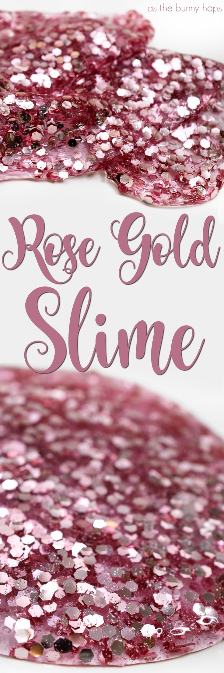 It may be so basic, but it's also so pretty! Make your own rose gold slime with this easy recipe! Get the full slime recipe and supply list for this easy, kid-friendly DIY at As The Bunny Hops.