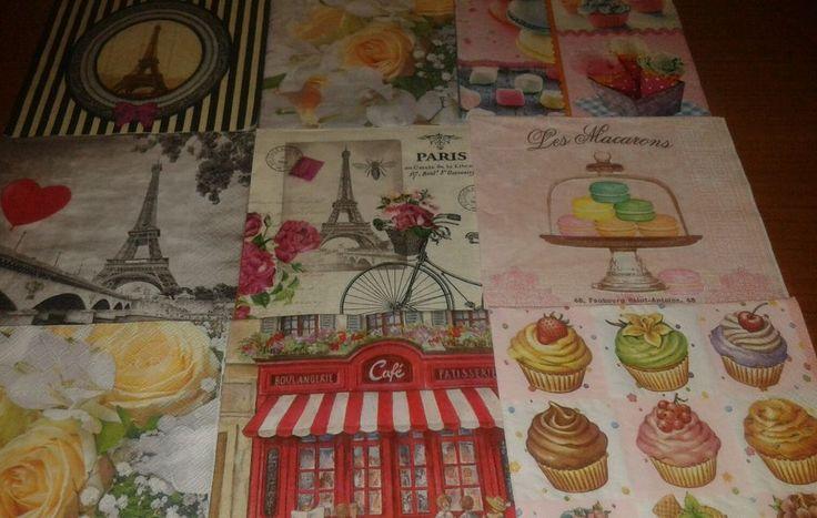 Lotto stock 9 tovaglioli per decoupage collezione, Tour Eiffel Dolci Paris Rose