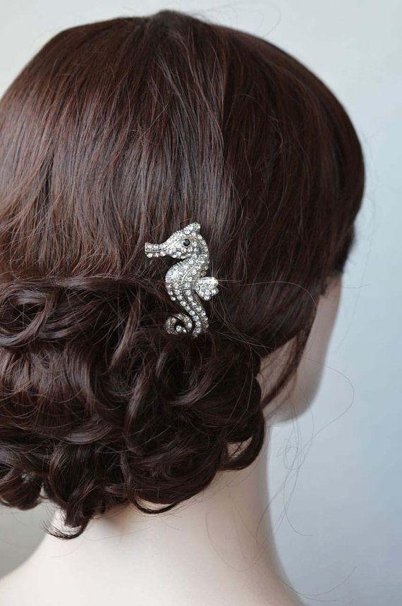 Crystal Rhinestone Sea Horse Sea Life Hair Clip, Destination or Beach Wedding, Bridal, Wedding, Destination Wedding (Sparkle-2846)