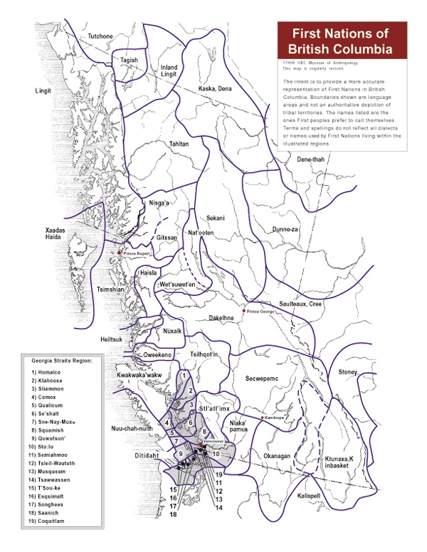 First Nations of BC language map from MOA