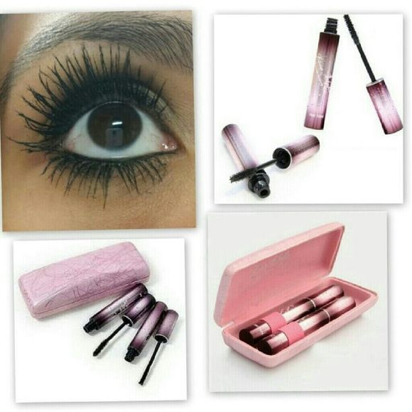 Love Alpha 3D Mascara Love Alpha brand 3D Fiber Lash Mascara (black) with all natural green tea fibers. 3 piece set includes cute pink case.   Directions?:?Be sure to apply to upper half of lashes one eye at a time. 1 First, apply Transplanting Gel to the upper half of eyelash. 2. Immediately following, and while the gel is still wet, apply the Natural Fibers to the upper half of lashes. 3. Apply the Transplanting Gel a second time to lock in fibers. Then viola!! Love Alpha Makeup Mascara