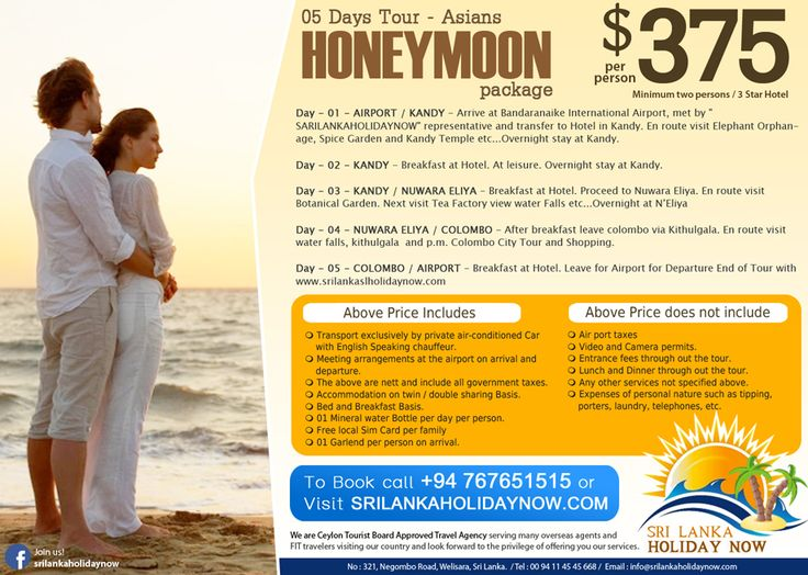 05 Days Tour - Asians Honeymoon package  http://www.srilankaholidaynow.com/main/tourdetails/95  Sri Lanka Holiday Now No 321, Negombo Rd, Welisara.  Hotline : 00 94 76 76 51515 (24 Hrs)  Tel: 00 94 11 45 45 668 Web : www.srilankaholidaynow.com E-mail : info@srilankaholidaynow.com  #srilankaholidaynow