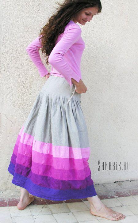 Светло-серая льняная юбка