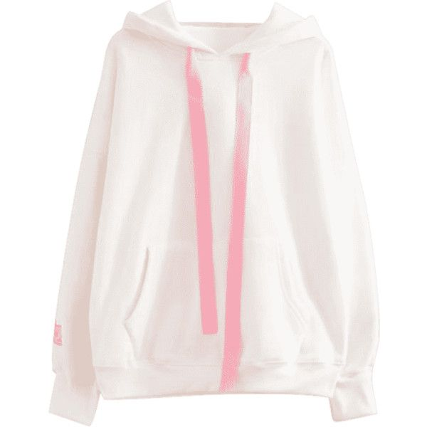 Rabbit Patches Contrast Ribbon Hoodie White ($30) ❤ liked on Polyvore featuring tops, hoodies, zaful, rabbit hoodie, sweatshirt hoodies, hooded pullover, white hoodie and white top