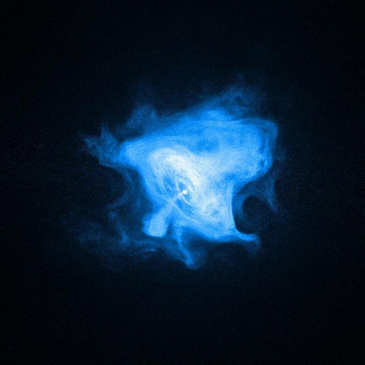 Imagem em raio-X da região em torno da estrela de nêutros (pulsar) da Nebulosa do Caranguejo. Fonte: Chandra Raio-X Observatório (satélite). A Estrela de Nêutrons é um remanescente de super nova. Tem cerca de 20 km de diâmetro e a massa de um sol e meio (1,5 massa solar).
