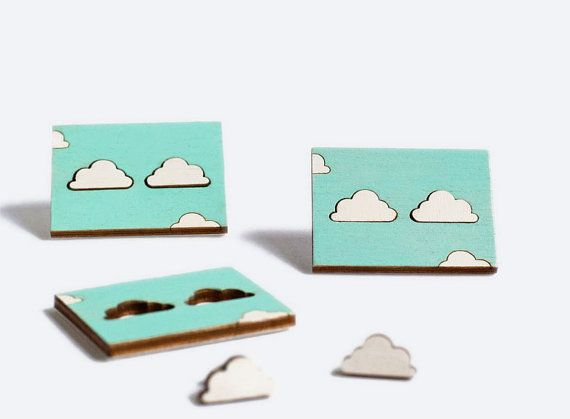 Clouds Earrings / White Studs / Wooden hand-painted studs in their packaging