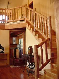 wall mounted rustic wood stair railings ideas - HomesCorner.Com