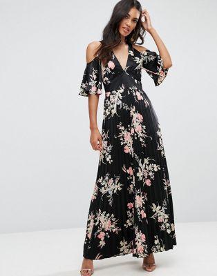 Vestido largo de satén con hombros al descubierto y estampado de flores de ASOS