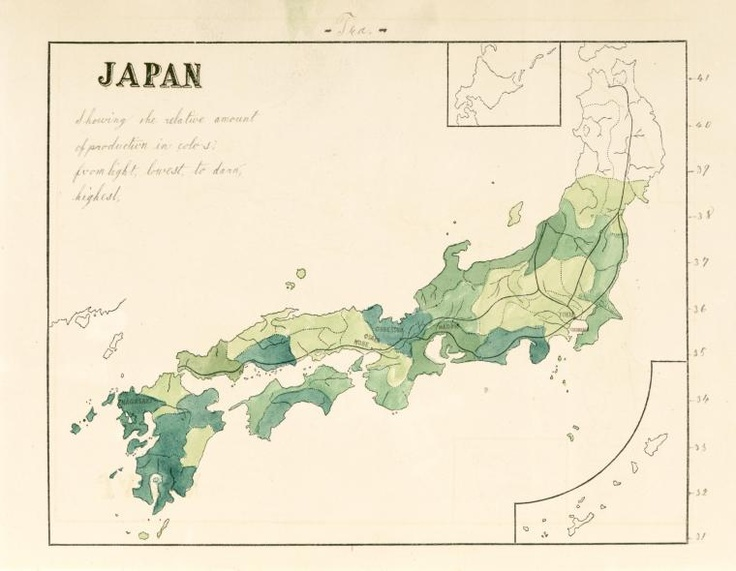 Japan, tea, showing the relative amount of production in colours, from light, lowest, to dark, highest.
