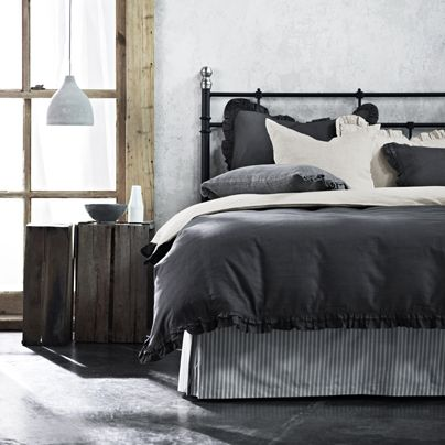 Maison Ruffle Charcoal Queen bed quilt cover