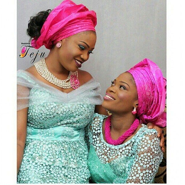 Nigerian Wedding Mint Green & Magenta Aso-ebi Colors