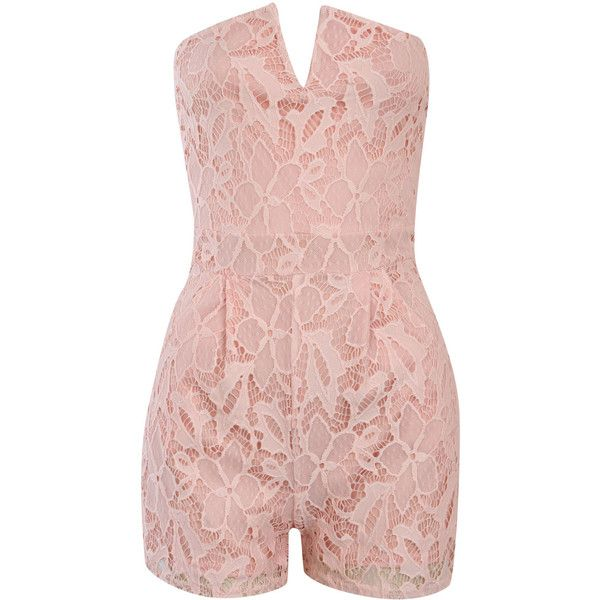 Pilot Bandeau Crochet Lace Playsuit ($33) ❤ liked on Polyvore featuring jumpsuits, rompers, nude, shorts, playsuit romper, pink rompers and pink romper