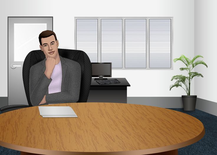 Customized illustration office scene for eLearning with Captivate, Camtasia and Storyline.