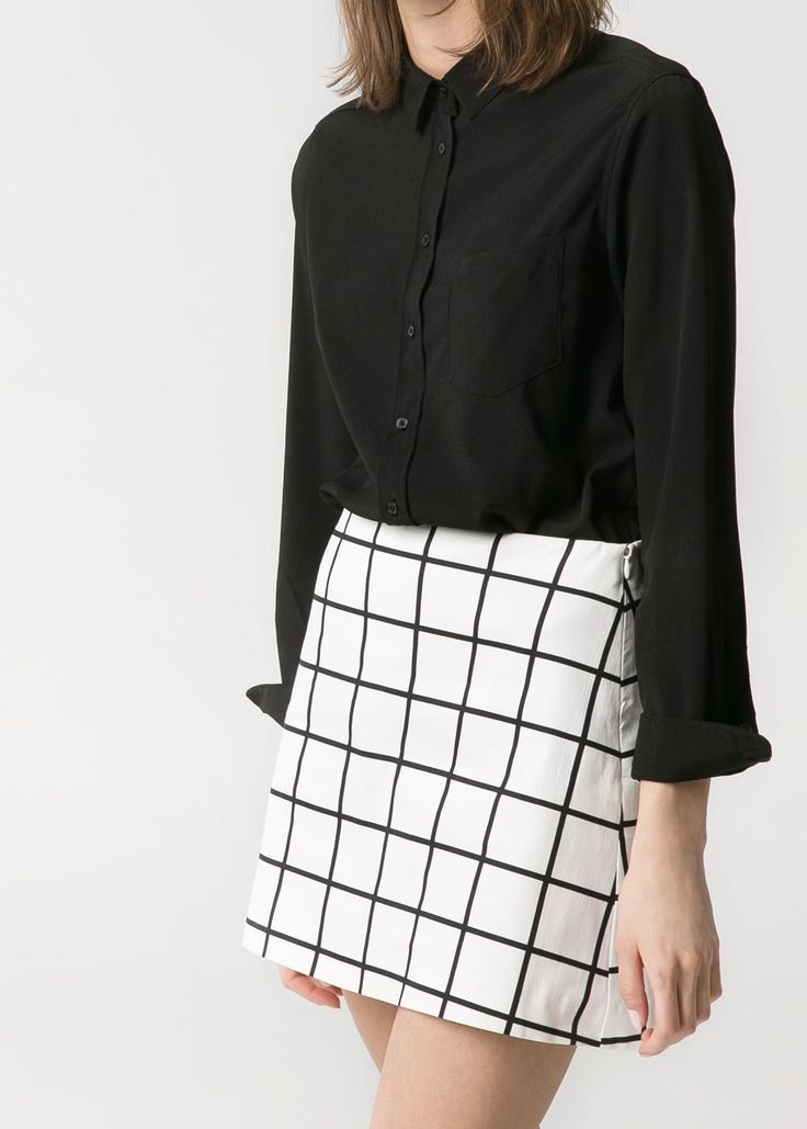 Check monochrome skirt - MANGO