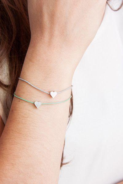 Armbänder - Leder Armband Herz Geometrisch Silber - ein Designerstück von State-of-A bei DaWanda