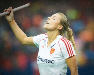 Georgie Twigg sees her shot saved in the penalty shoot-out against Germany in the EuroHockey Final (Credits: Frank Uijlenbroek / England Hockey)
