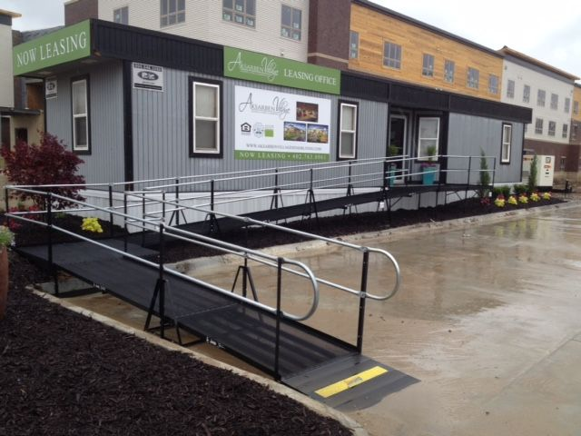 Amramp Omaha installed this wheelchair ramp to make the temporary sales office trailer accessible for everyone at Aksarben Village Senior Living in Omaha, NE.
