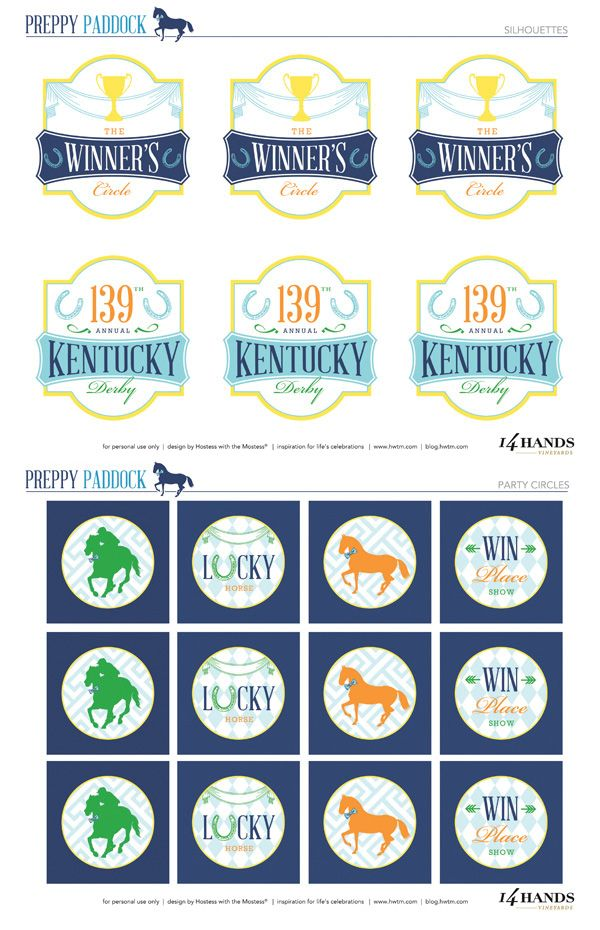 "FREE Kentucky Derby Party Printables – ""Preppy Paddock"" // Hostess with the Mostess®"