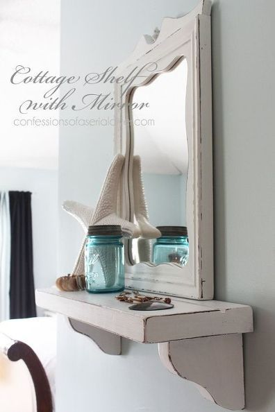 Cottage inspired mirror with shelf from thrift store and yard sale mismatched items.