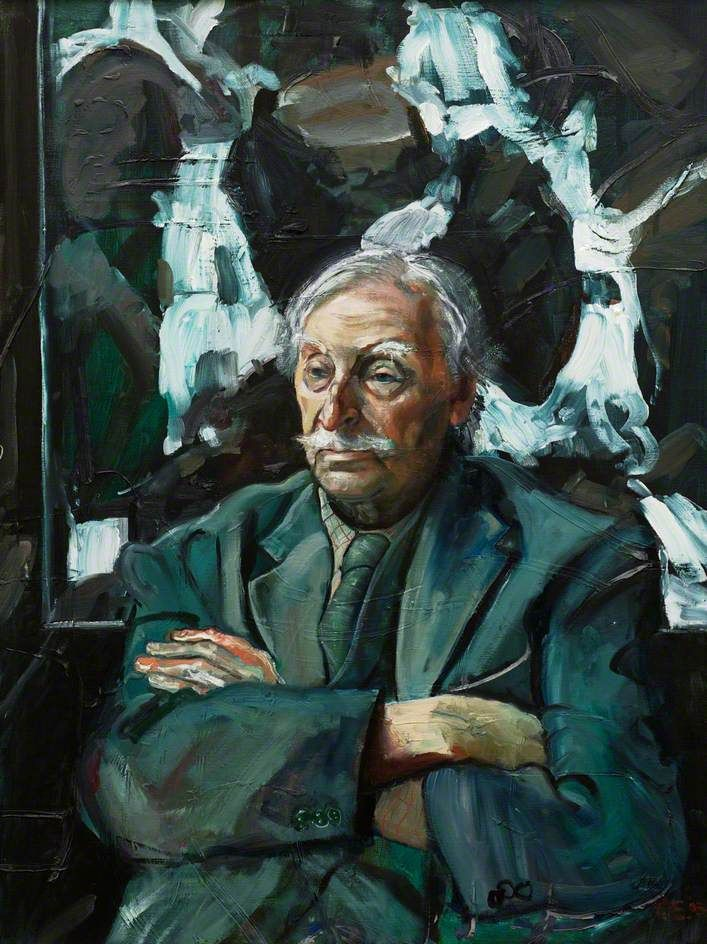 """Sir Kyffin Williams in His Studio Seated in front of His Painting, 'Waterfall'"", 2003 - Peter Douglas Edwards"
