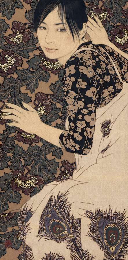 Gold-Laced Girl Illustrations  Ikenaga Yasunari Uses Expensive Element as a Medium