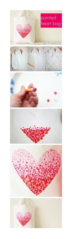 DIY painted heart tote - note: no instructions on this link. sad face! (looks pretty straightforward though - i just need fabric paint and I could cut out any pattern I want!