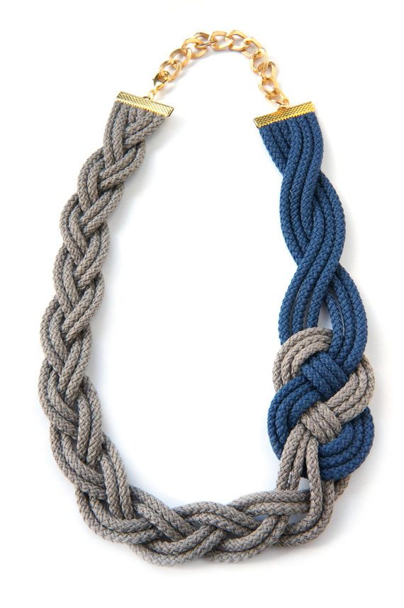 BRAIDED NECKLACE,Sailor Knot,Nautical Style,Blue Navy and Beige,Knotted,Braided,Woven,Rope Necklace
