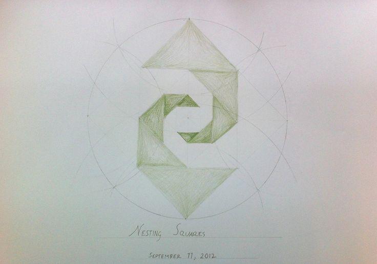 Waldorf ~ 6th grade ~ Geometric Drawing ~ Nesting Squares ~ main lesson book