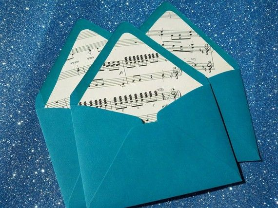 If I ever have a party...the envelopes are being lined with sheet music. :)