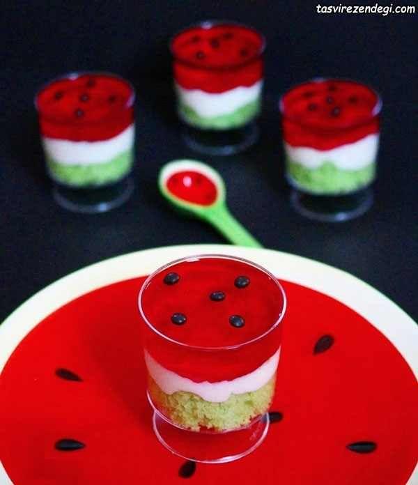 طرز تهیه چیز کیک هندوانه دسر مجلسی برای شب یلدا مجله تصویر زندگی Food Cake Decorating Videos Chocolate Custard