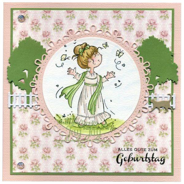 """Snoesjes """"Victorian Style"""" Clear Stamp (HM9470), Deutsche Texte (CS0920), Circle-Stanze (CR1248), Village Decoration Stanzenset (COL1383), Pretty Papers Bloc Sweet Roses (PK9123) und Pink Diamond Gems (JU0937 )"""