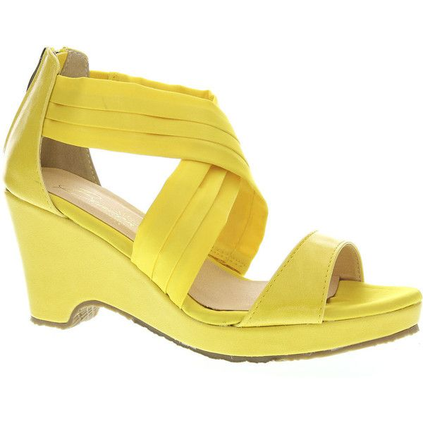 Beacon ALANA Women's Yellow Sandal ($60) ❤ liked on Polyvore featuring shoes, sandals, yellow, elastic shoes, leather upper shoes, yellow sandals, elastic sandals and yellow platform shoes