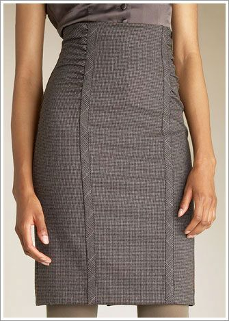 Flattering take on the librarian skirt. I'd love it with tall boots or a pump.