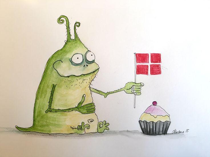 Drawing by Marlene Jørgensen watercolour pencils Muggelutz an alien from back home. Happy birthday dannebrog muffin