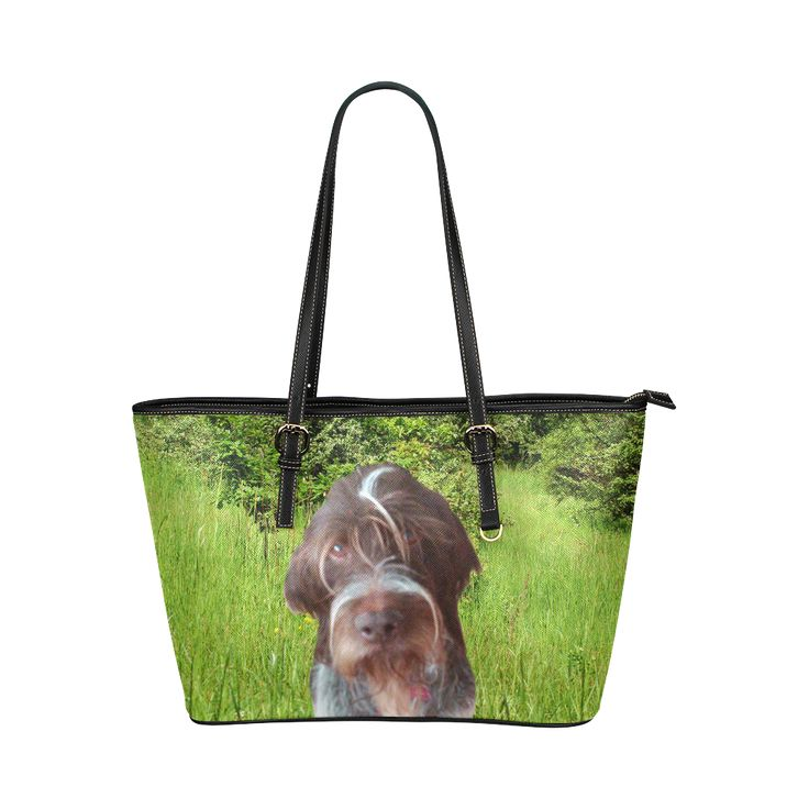 Dog and Flowers Leather Tote Bag/Large. FREE Shipping. #artsadd #bags #dogs